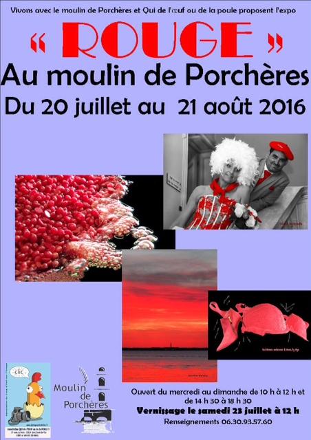 affiche expo rouge moulin de Porcheres